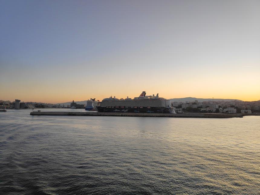 Sailing away from the port of Piraeus.