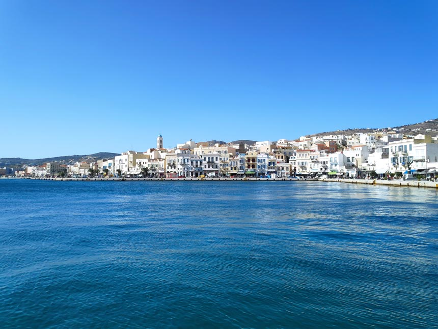 Partial view of Hermoupolis in Syros on a sunny cloudless day in October.
