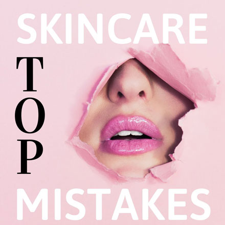"""A woman's mouth wearing a pink lipstick seen through a pink paper peephole. The text reads """"top skincare mistakes."""""""