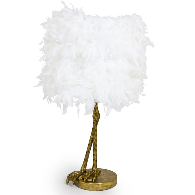 Ruffled feather brass birds leg table lamp by Audenza.