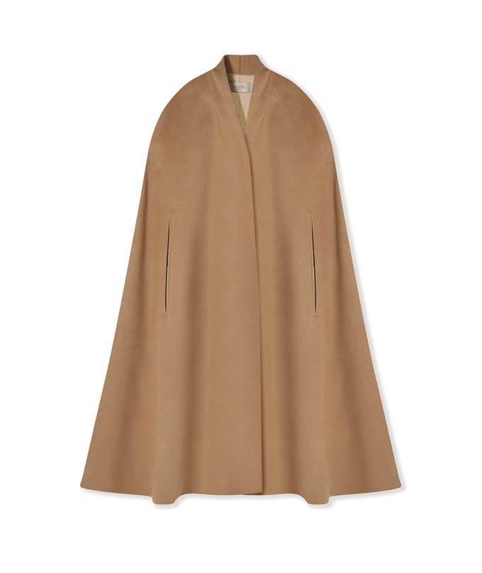 A camel cape coat. Image by Hobbs.