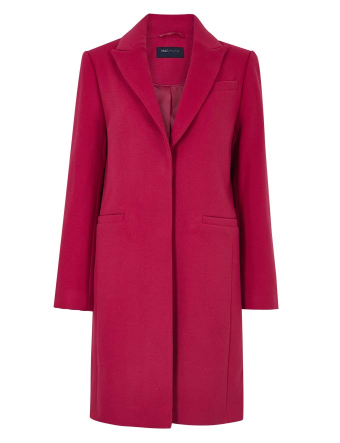A red simple and stylish overcoat. Image by Marks&Spencer.