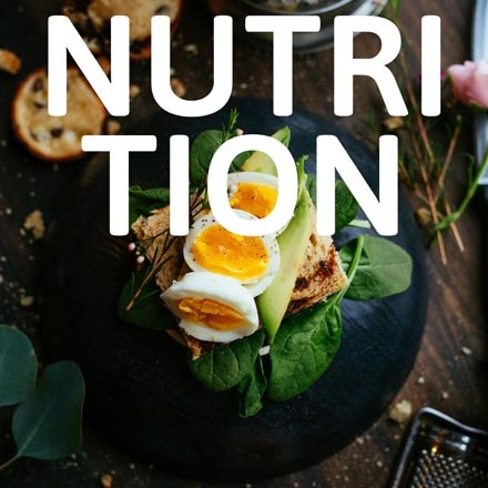 An egg sandwich in the background and the words nutrition standing out on an overlay.