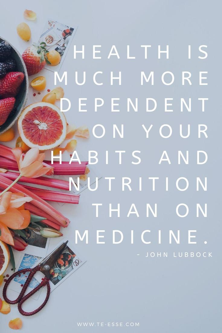 A pin graphic with a quote from John Lubbock that reads: Health is much more dependent on your habits and nutrition than on medicine.