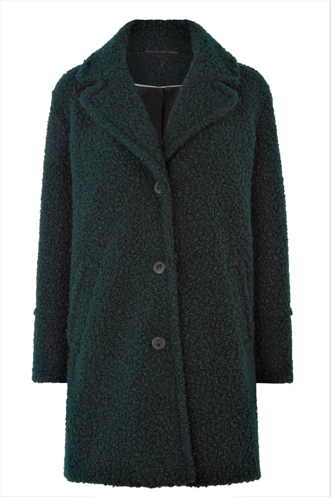 A green teddy coat. Image by Oasis.