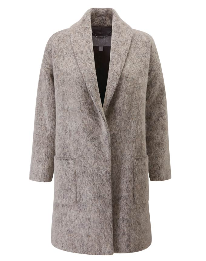 A silver gray wool coat. Image by Pure Collection.