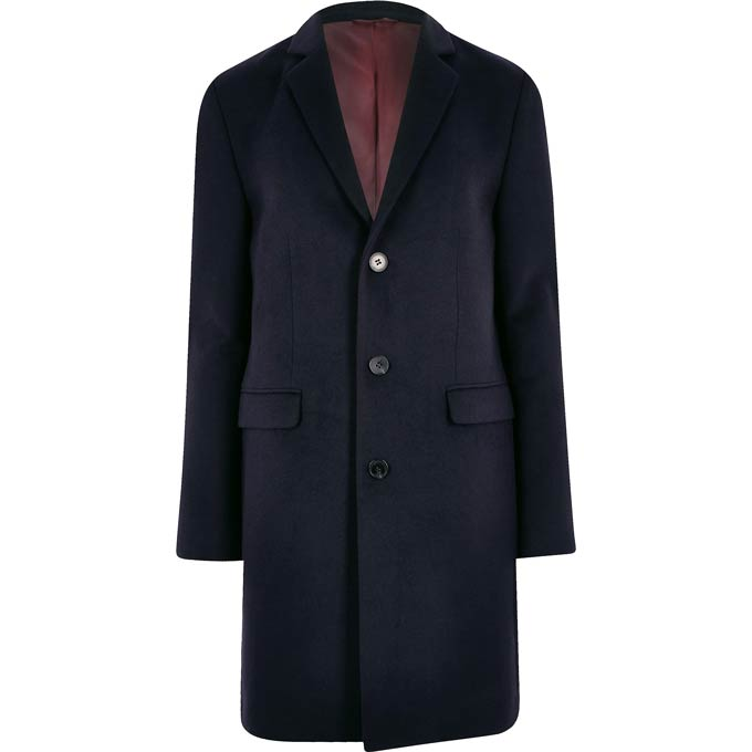 A navy blue coat - image by River Island.