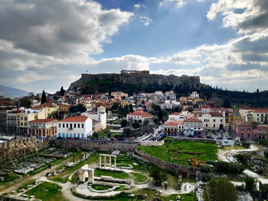 The Parthenon taken from a roof top in Monastiraki next to Plaka, Athens - before editing.