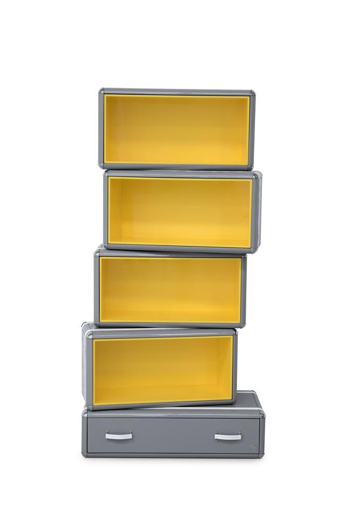 A super stylish kids bookcase with yellow lining from Circu. Image: Circu.