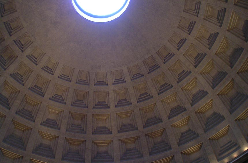 Looking up the dome of the Pantheon in Rome, capturing part of the occulus. Image by Velvet.