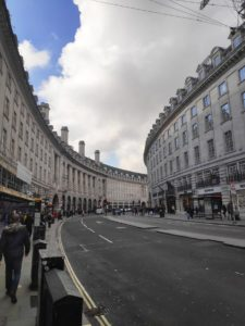View of Regents Street in London on a cloudy day (portrait format).