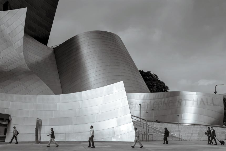 A black and white image of the Disney Concert Hall in L.A.