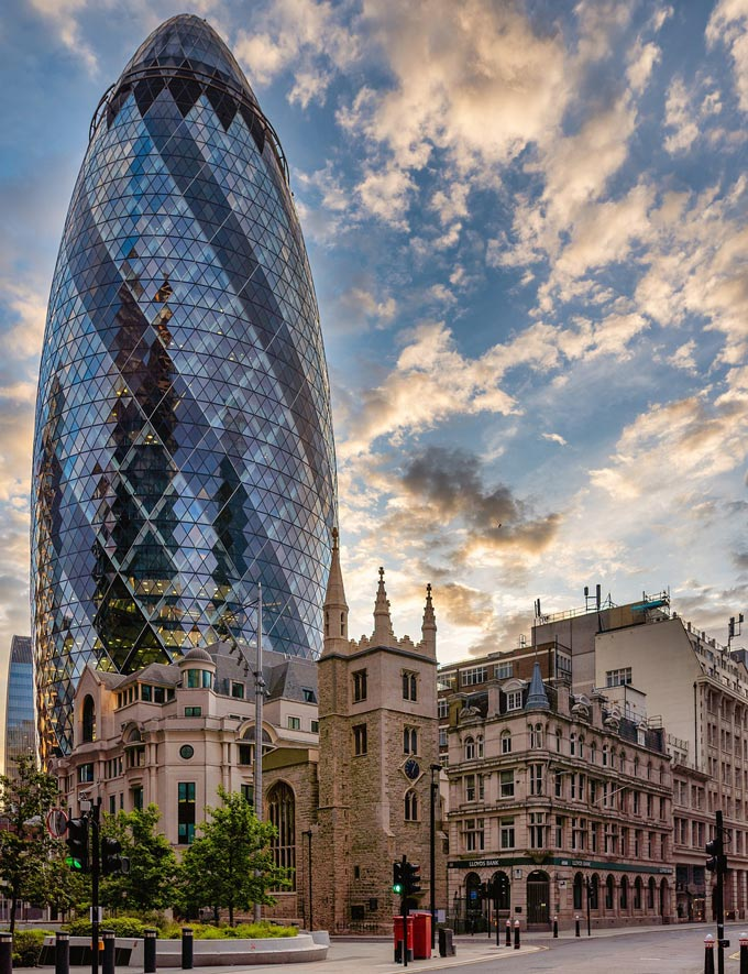 The Gherkin, a stunning tower, one of the latest additions in London's skyline.