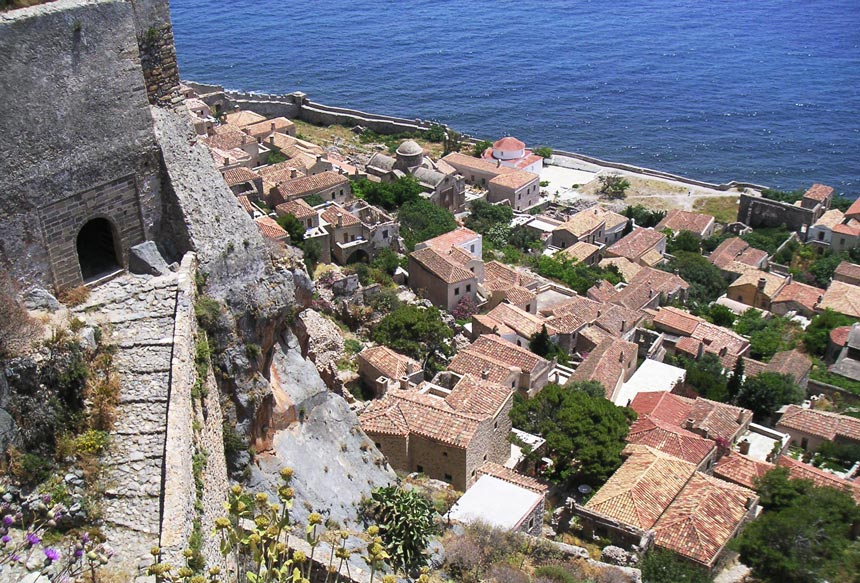 Aerial view of Monemvasia castle town. Image by Velvet.