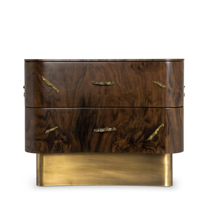 Baraka bedside. A stylish wooden nightstand with a luxurious feel to it because of its brassy details. Image: Brabbu Design Forces.