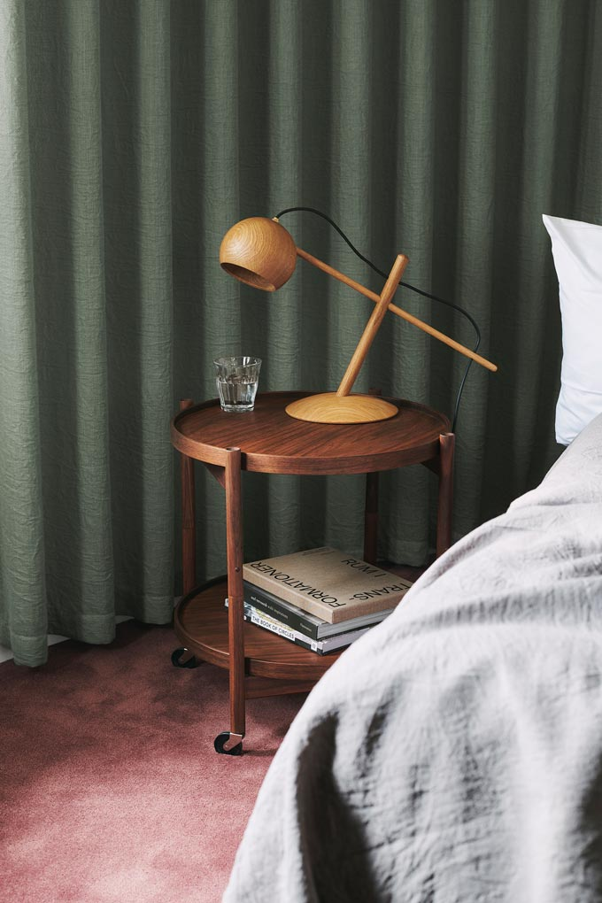 A close view of the Bolling tray side table serving as a nightstand. Image: Nest.co.uk.