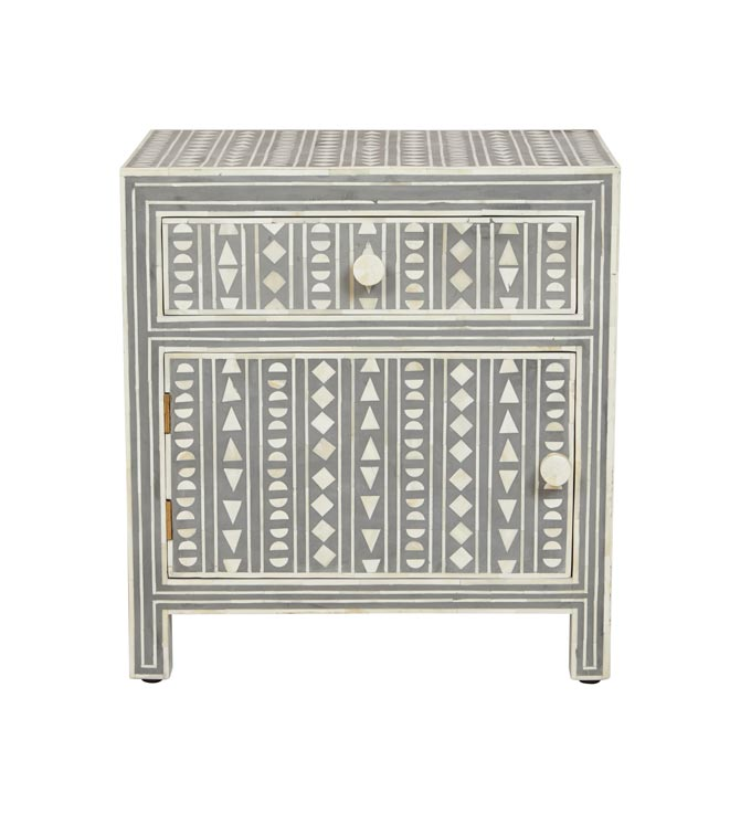 The perfect nightstand for a Bohemian styled bedroom with a bone inlay geometric pattern from Fenton & Fenton. Image: Fenton & Fenton.