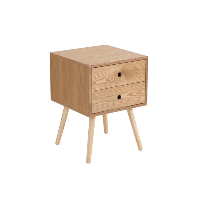 A stylish minimal Scandinavian nightstand Kent Bedside Table - Natural. Photo: Pillow Talk.