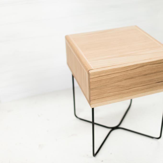 A stylish Scandinavian inspired nightstand - ST500 Bedside Table | By HUNT FURNITURE from Handcraafted. Photo: Handcrafted.
