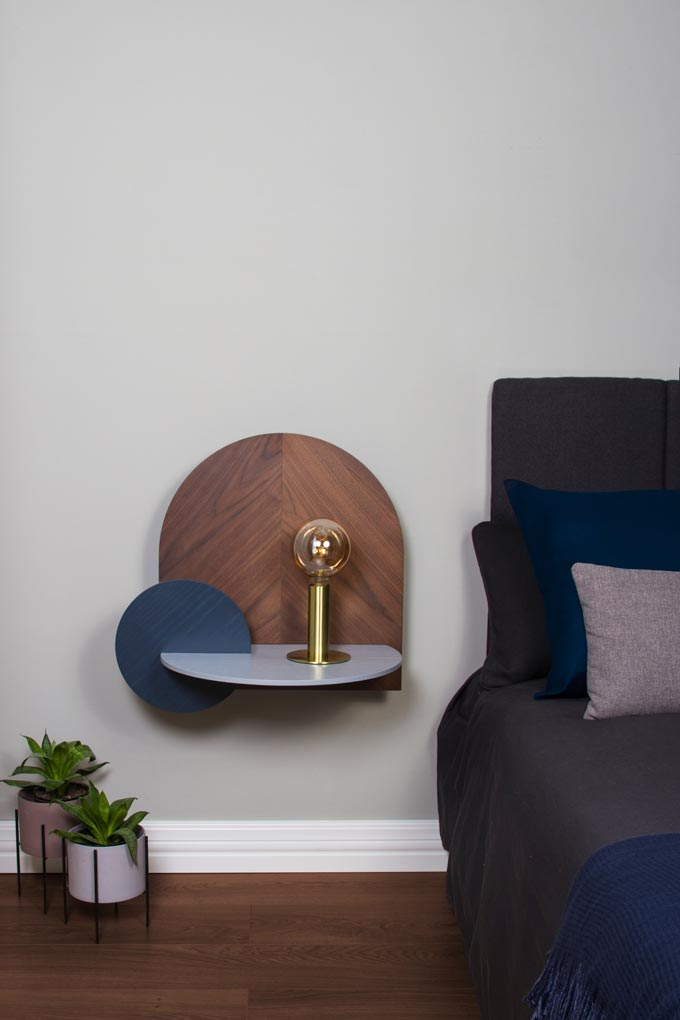 A modular storage, in walnut, bedside table. Image: Woodendot.