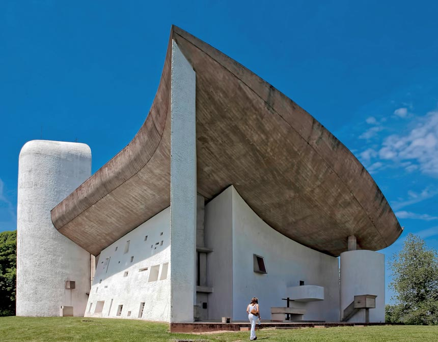 The Notre Dame du Haut designed by Le Corbusier, found in Ronchamp, France.
