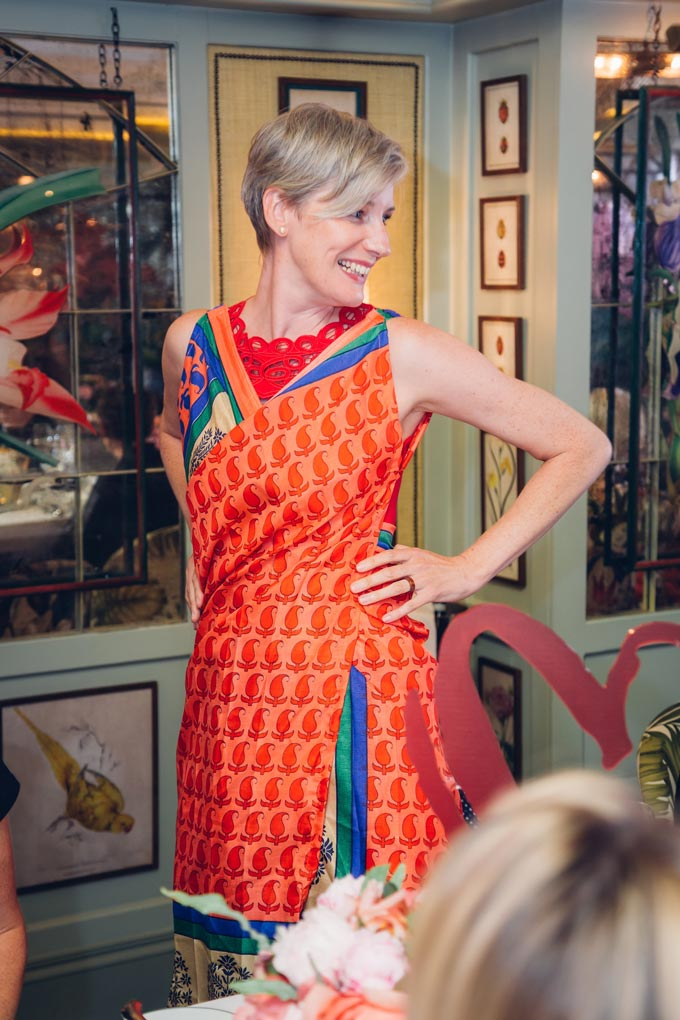 Empowering women. Fritha demonastrating Secret Sari Dress at the Prix Clarins Stylist 2018 award lunch. Image: Secret Projects.