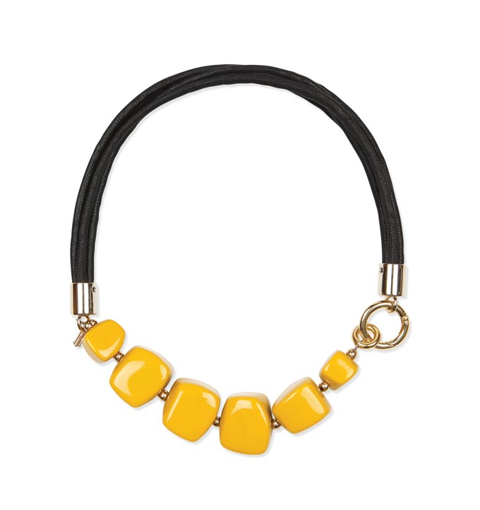 A statement necklace with large strong yellow beads from Hobbs.