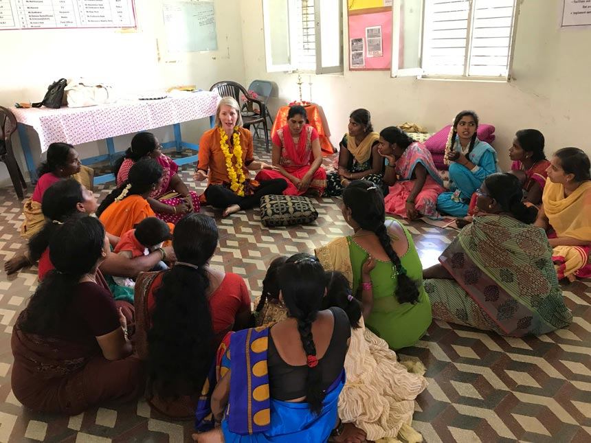 Fritha Vincent among Indian women during a Secret Pillow and Scarf training session. Image: Secret Projects.