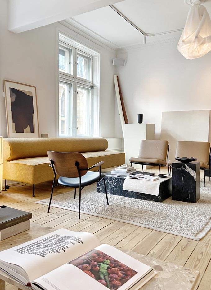 Sculptor's Residence: The living room as seen during the Stockholm design week 2020. Image: Italianbark.