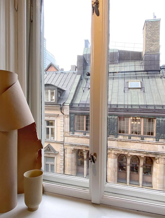 Looking out of a window from the Sculptor's Residence in Stockholm's design week 2020. Image: Italianbark.