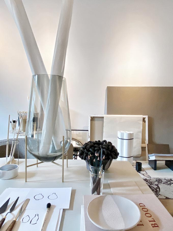Partial view of a sculptor's objects in a staged exhibition-apartment for the Stockholm design week 2020. Image: Italianbark.
