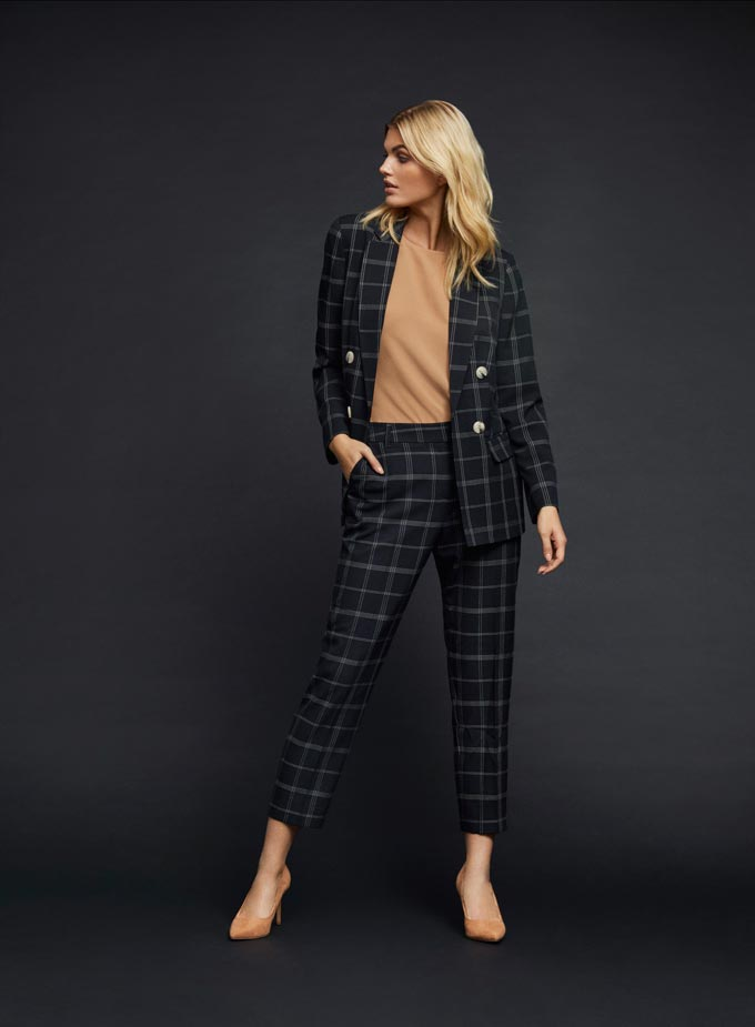 Women's power suits: A black check power suite paired with a camel top - Classy! Image: Dorothy Perkins.
