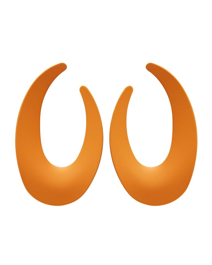 Orange resin statement earring hoops. Image: Oliver Bonas.