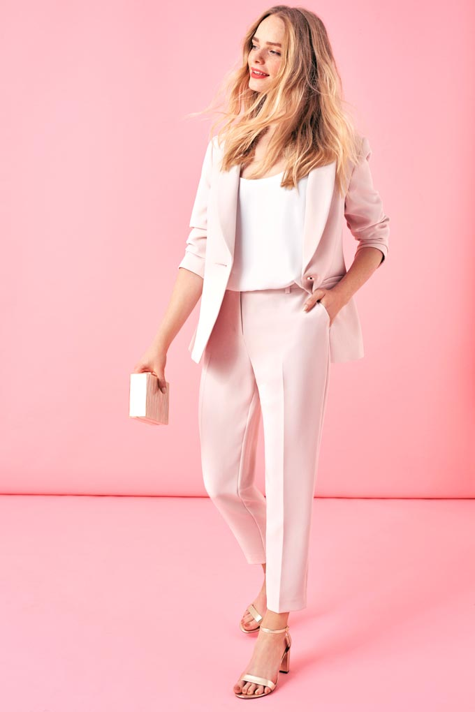 An all pastel pink power suit. So feminine but classy. Image: Dorothy Perkins.