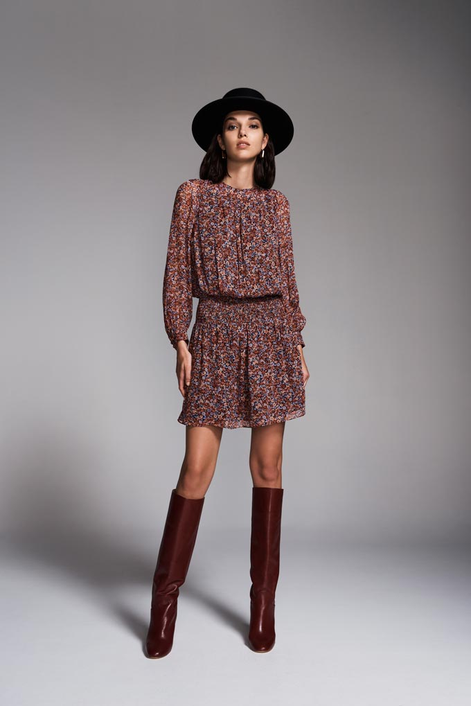 Transitional winter to spring outfit: A short flower print dress paired with a black hat and knee high leather boots. Image: SABA.