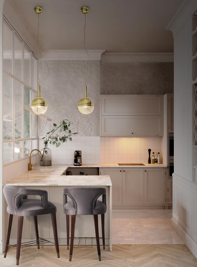 A contemporary off white kitchen with two bar chairs in grey velvet. Image: Brabbu Design Forces.