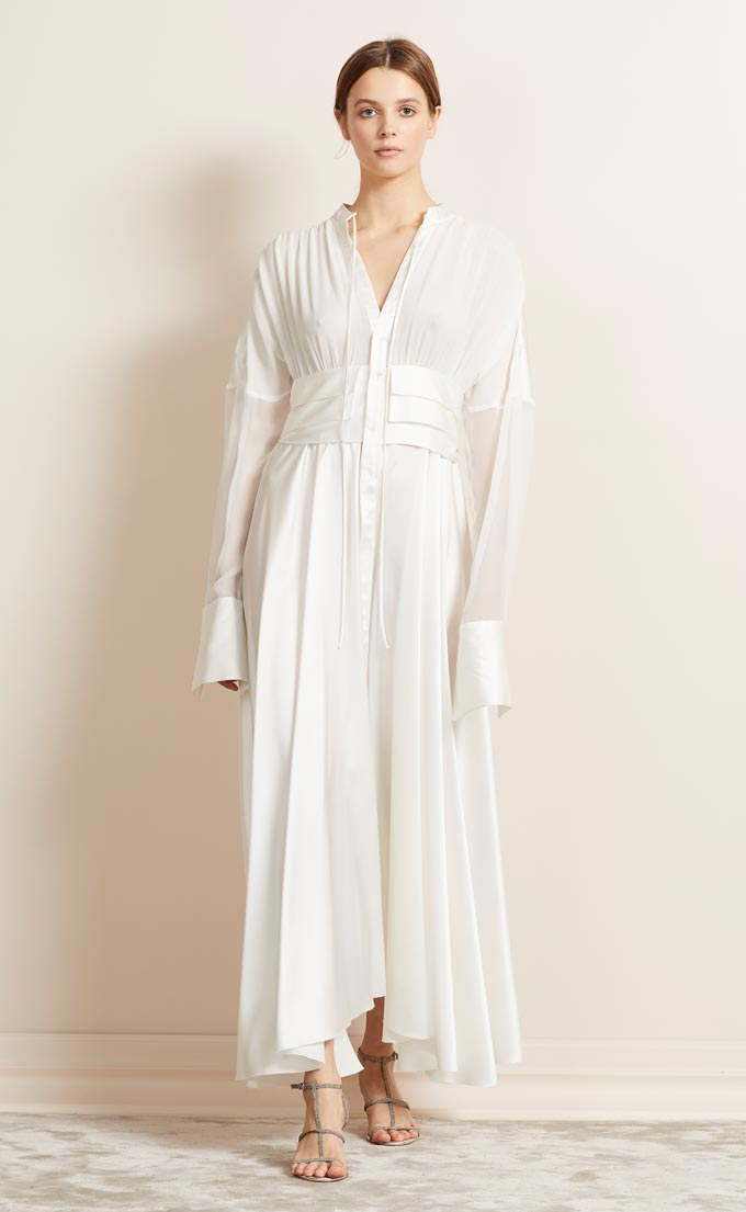 Transition from winter to spring outfits. A white silk maxi dress. Image: Brec & Bridge.
