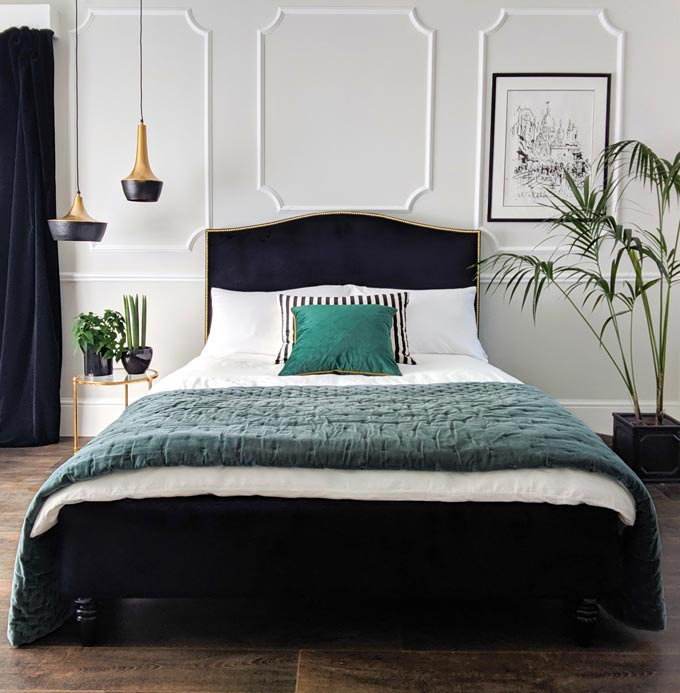 What a stunning bedroom with a black velvet bed, celadon accents and black velvet curtains. Image: The French Bedroom Co.