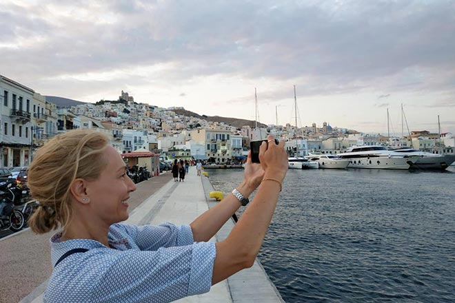 Velvet taking a smartphone picture while in Hermoupolis, Syros.