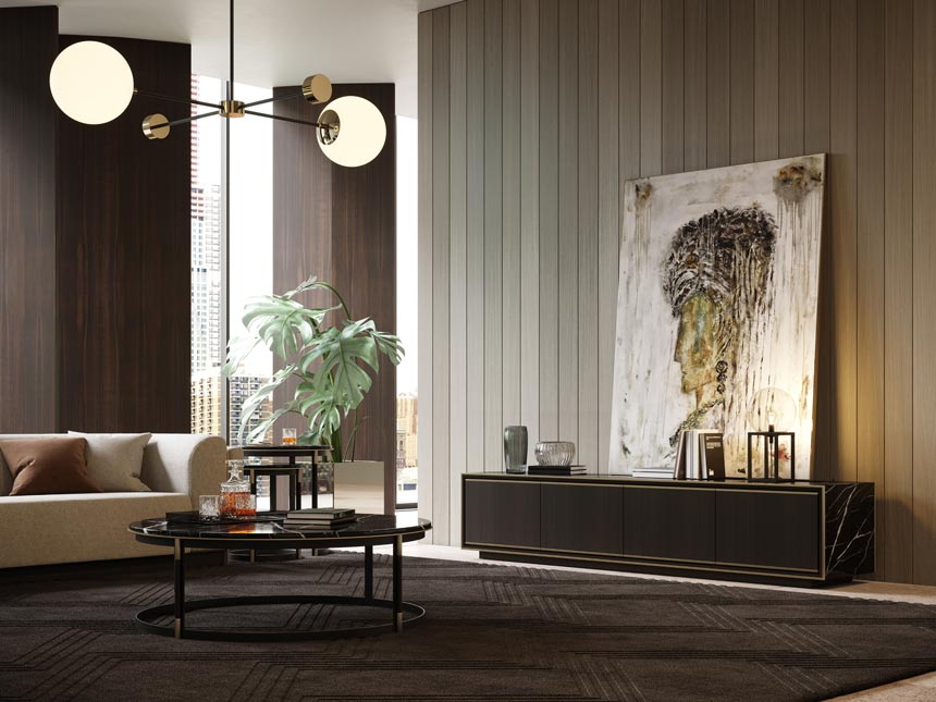 A stunning living room with a limited to earth tones color palette. Image: Laskasas.