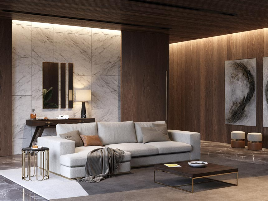 A gorgeous contemporary living room with wooden interior cladding on the walls and marble accents, ambient wall grazing as lighting and a comfy light grey sofa. Image: Laskasas.