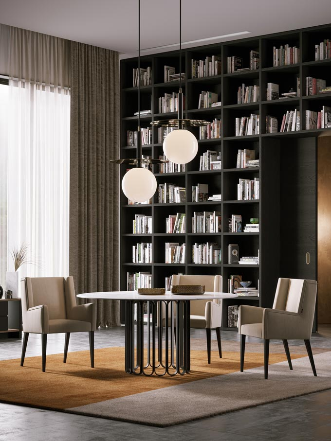 A beautiful sophisticated study room with a built in bookcase, a round dining table and chairs. Image: Laskasas.