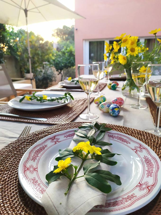 View of an outdoor dining Easter table.