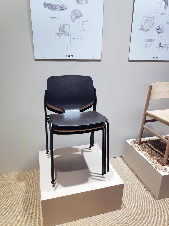 The Nova chair - a sustainable design created by mater design using wood waste.